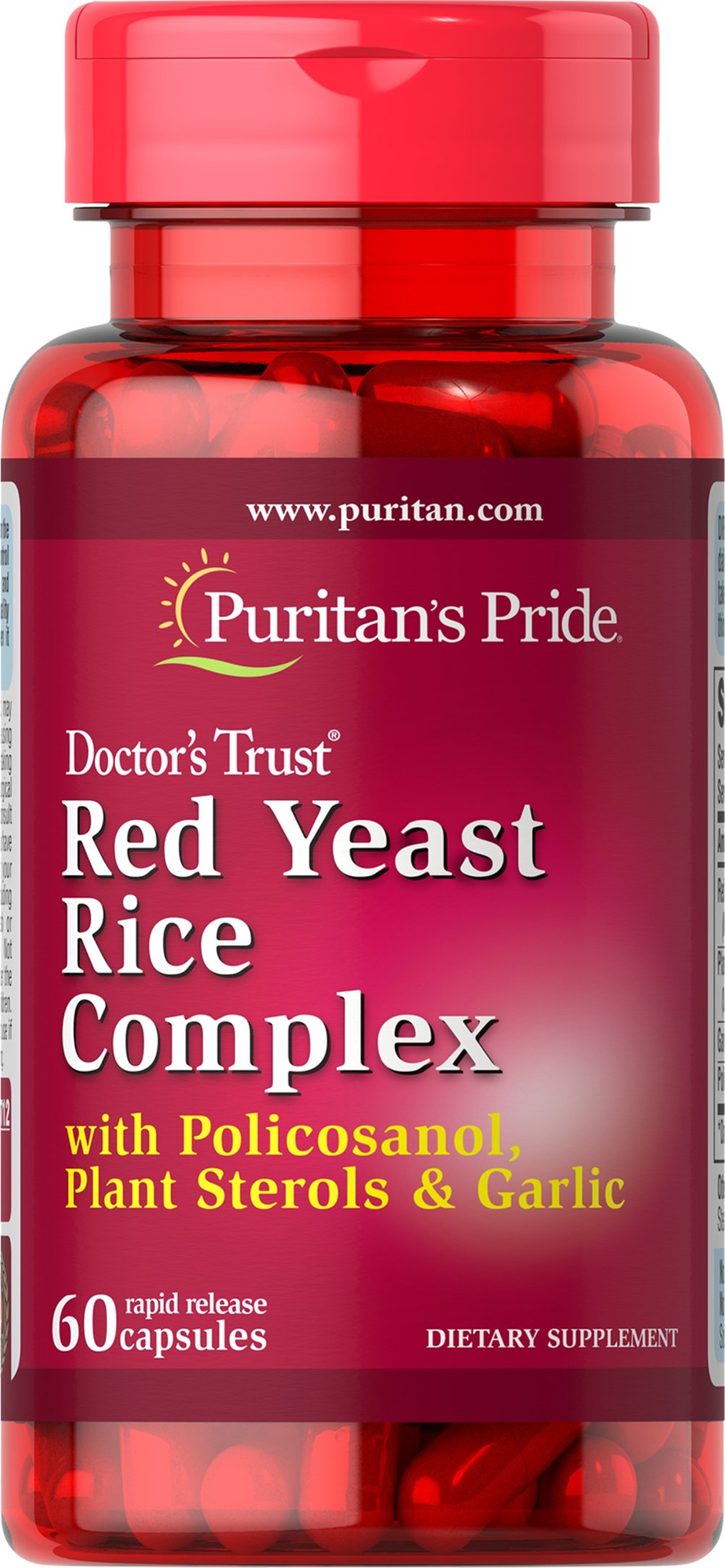 Red Yeast Rice Complex <p>Red Yeast Rice has been a staple food of the traditional Chinese diet for centuries. Valued as a main food source as well as for other uses, Red Yeast Rice can be a healthy addition to your diet.**  Three capsules contain 1200 mg of Red Yeast Rice Powder from the Chinese botanical Monascus purpureus, 500 mg Plant Sterols, 500 mg Garlic and 20 mg Policosanol.</p> 60 Capsules  $5.99