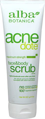Alba Acne Dote Face & Body Scrub <p><strong>From the Manufacturer's Label:</strong></p><p><strong>Maximum Strength, Oil-Free</strong></p><p><strong>Fights Breakouts Even After You Rinse</strong></p><p><strong>2% Salicylic Acid Formulated with Willow Bark Extract</strong></p><p>It's time for tough love: This powerfully natural, botanically effective, dual-purpose face and body scrub is tough