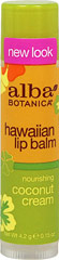 Coconut Cream Hawaiian Lip Balm <p>Hawaiian Coconut Cream Lip Gloss by Alba</p><p>For beautifully shimmering, moisturized lips, with certified organic emollients and vitamin E.</p><p>100% Vegetarian. Preservative free.</p> 0.15 oz Tube  $1.99