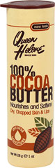 Queen Helene Cocoa Butter 100% Moisturizer Stick <p><strong>From the Manufacturer's Label:</strong></p><p><strong>Pure Natural Moisturizer</strong></p><p><strong>Soothes and Softens  Skin</strong></p><p>100% Cocoa Butter soothes and moisturizes dry, chapped and irritated skin.  Ideal for stretch marks.  Natural protection for skin overexposed to sun and wind.</p><p>Manufactured by  Queen Helene.</p> 1