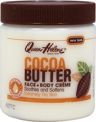 Queen Helene Cocoa Butter Crème <p><b>From the Manufacturer's Label:</b></p>  <p><b>Softens Rough, Dry Skin!</b></p> <p>Queen Helene® Cocoa Butter Crème blends natural cocoa butter with lanolin to smooth and soften dry, irritated skin.  Helps restore skin's essential moisture balance and reduce  the appearance of dry skin wrinkles.  Excellent for skin that has been overexposed to sun or wind.  An effective facial moisturizer fo