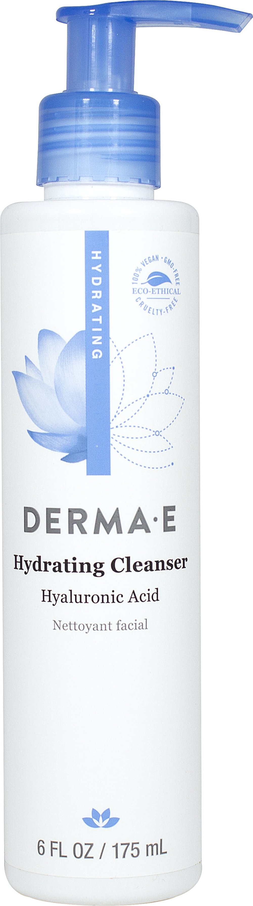 Derma E® Hydrating Cleanser with Hyaluronic Acid <strong></strong><p><strong>From the Manufacturer:</strong></p><p><strong>Cleanse and Rehydrate</strong></p><p>Derma E®'s Hydrating Cleanser is formulated with the maximum hydrating properties of Hyaluronic Acid, plus skin vitamins and botanicals such as Chamomile and Lemon Grass to deeply moisturize while rinsing away dirt and impurities for clean, soft, dewy-fresh skin.&