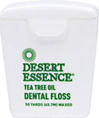 Desert Essence® Tea Tree Oil Dental Tape <p><strong>From the Manufacturer's  Label:</strong></p><p>Thicker than floss for wider spaces between teeth</p><p>No animal testing</p><p>No alcohol, artificial color or synthetic perfumes</p><p>Desert Essence® Dental Tape is naturally waxed and saturated with tea tree oil.  For best results, use with Desert Essence Toothpaste, Mouthwash, and Dental Pics.</p><p>Man