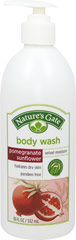 Nature's Gate Pomegranate Sunflower Body Wash <p><b>From the Manufactuer's Label:</b></p> <p><b>Hydrates Dry Skin</b></p>  <p>Nature's Gate Pomegranate Sunflower Velvet Moisture Body Wash hydrates and pampers your skin with rich moisturizers and lather while age defying antioxidants and nutrients nourish and protect skin.  Our unique combination of 7 skin conditioning moisturizes leave skin supple and touchably soft.</p>  <p&
