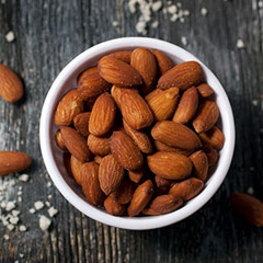 Roasted Salted Almonds Delectable, sweet and delicious, roasted almonds pop with a sweet taste. Roasted and lightly salted.  8 oz Bag  $8.99