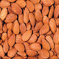 Raw Almonds These delicious, crunchy little kernels are so very versatile. Eat them by the handful as a snack. Sprinkle them onto your favorite foods as a topping. Add them to recipes for crunchy texture and a delicate flavor.<br /><br />Almonds are a wonderfully delicious source of nutrients. Scientific evidence suggests, but does not prove, that eating 1.5 ounces per day of most nuts, such as almonds, as part of a diet low in saturated fat and cholesterol may reduce the risk of hea