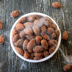 Hickory Smoked Almonds Almonds are the king of nuts and this variety adds zing with its zesty smokehouse taste. Smoked and lightly salted.   8 oz Bag  $8.99