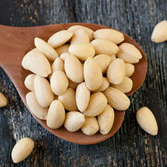 Blanched Whole Almonds <p>Another version of almonds—blanched almonds are whole without the skin. Whole blanched almonds are excellent for baking. </p>  8 oz Bag  $7.99