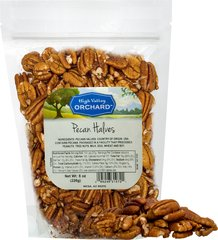 Pecans <p>Widely consumed out of hand and used as an ingredient in baked goods and confections, pecans are a good source of protein. </p><p>One of the finest nuts in texture and flavor,  pecans are an ingredient in some of the mouth watering treats: classic pecan pies, cookies, cakes, candies, chocolates, chopped in granola, mixed with fruit salad, or as a topping. </p> 8 oz Bag  $14.99