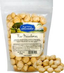 Raw Macadamia Nuts Macadamia nuts are deliciously sweet, providing a very unique, creamy nut taste. Sure to please even the most discriminating Macadamia lover! Great for baking desserts.<br /> 8 oz Bag  $21.99