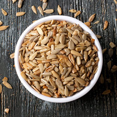 Roasted Unsalted Sunflower Seeds <p>These Roasted & Unsalted delicious and tasty sunflower seeds out of the shell are a favorite of nut and seeds lovers alike. <br /></p> 8 oz Bag  $6.29
