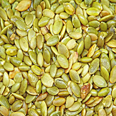 "Roasted & Salted Pepitas (Pumpkin Seeds) <p>Out of the shell, roasted and salted, and ready to eat - these ""Pepitas"" are a special treat! <br /></p><p></p> 8 oz Bag  $8.99"