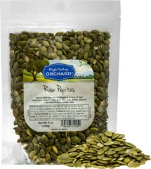 "Raw Pepitas (Pumpkin Seeds) <p>These raw pumpkin seeds, also known as pepitas, are a healthy treat already taken out of the shell, a natural raw snack for on the go.  </p><br type=""_moz"" /> 8 oz Bag  $7.99"