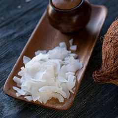 Coconut Chips Enjoy these delicious dried coconut chips used for baking, salads, cooking and snacking. 8 oz Bag  $6.99