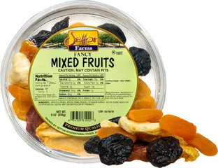 Jumbo Mixed Fruit Scrumptious and plump jumbo mixed fruit is made with the highest quality selection of top of the line dried fruit products.</p><p> Jumbo mixed fruit includes fancy peaches, fancy pears, tender apples, plump apricots and sweet pitted prunes/plums.  9 oz Container  $6.99