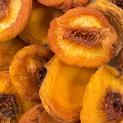 Dried Jumbo Peaches Jumbo dried peaches that taste great and are good for you. Enjoy your favorite fruit regardless of the season! 8 oz Container  $7.99