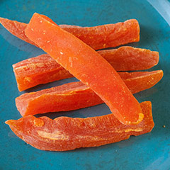 Papaya Spears <div>Enjoy this tropical fruit all year around.  Dried Papaya Spears are made from sweet, tree-ripened Papayas. This tasty snack is often used in baking, salads, sauces, stuffing,  trail mixes, and hot cereals as well as a snack when a craving for  something sweet calls.  </div><p></p><p></p><p> </p> 8 oz Bag  $5.99