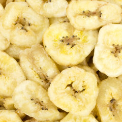 Sweetened Banana Chips Delicious dried slices of honeyed banana offer a sweet taste and make a great snack!  6 oz Container  $2.99
