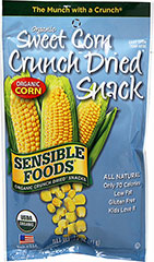 Crunch Dried Sweet Corn <p><b>From the Manufacturer:</p></b> <p>Delicious and nutritious snack; 100% Organic Sweet Corn and nothing else. Each pouch is equal to 1/2-cup fresh corn. </p> <p>Proprietary crunch dried process is done in a high vacuum at very low temperatures. This process removes the water while maintaining the product's cell structure, nutritional value, and intensifying its natural flavor. No preservatives of any kind! </p>  <