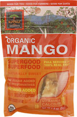 Organic Mango Superfood <b><p>From the Manufacturer:</b></p>  <p>Organic, pure, energy-packed and nutrient-dense. </p>  <p>Mangos are sweet treats, high in Vitamin A, and a good source of calcium and fiber. </p> <p>Kopali Mango is peak-harvested and artisan-dried. </p> <p><b>Benefits</b></p>  <p>•Certified Organic •Gluten Free </p> •Fat Free.•Vegan 1.8 oz Bag  $5.99