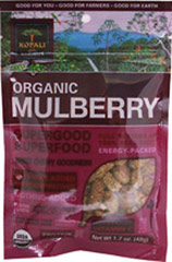 Organic Mulberry Superfood <b><p>From the Manufacturer:</b></p>  <p>Organic, pure, energy-packed and nutrient-dense. </p>  <p>Kopali Mulberries are satisfying sweet chewy power treats, high in Vitamin C, iron, fiber and a source of protein and calcium.</p>  <p><b>Benefits </b></p> <p>• Certified Organic •Gluten Free</p><p> •Fat Free •Vegan </p> 1.7 oz Bag  $7.99