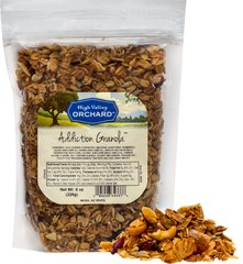 Addiction Granola Once you start eating Addiction Granola, you may not want to stop! </p> <p>Combines rolled oats, sliced almonds, cashew pieces, coconut, sunflower seeds, cranberries, apricots, and golden raisins, topped with agave nectar and evaporated cane juice with a hint of maple flavor.  8 oz Bag  $6.99