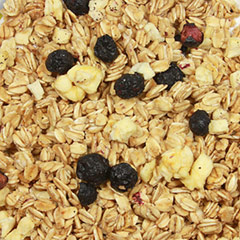 Apple Blueberry Low Fat Granola Honey-sweetened delicious granola full of oats, apples, blueberries. Eat straight out of the bag or with milk or yogurt. How's that for a winning breakfast? <br /> 8 oz Bag  $2.49