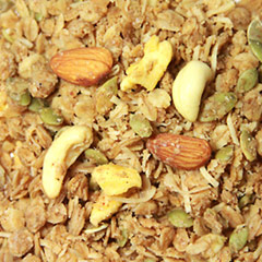Agave Sweet Apple Crisp Granola A delicious blend of rolled oats, apples, cashews, almonds, pepitas, and coconut is sweetened with agave; creating a sweet, warm taste to plain old granola.<br /> 8 oz Bag  $2.99
