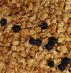 Honey Sweet Blueberry Granola Tasty granola full of oats and blueberries. This granola is sweetened with honey to give you that delicious taste of goodness to start your morning off right!<br /> 8 oz Bag