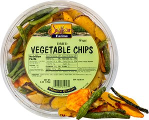 "Dried Vegetable Chips <p>Crunchy, crispy and delicious. Enjoy this crave-inducing assortment of sweet potato, taro, squash, carrots, and green bean ""chips"" dried and spiced to perfection with just a hint of salt.</p><p></p> 6 oz Container  $6.99"