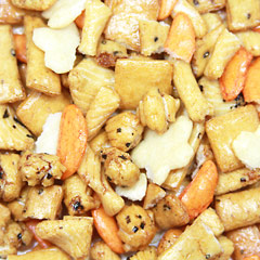 Oriental Rice Crackers Mix A crunchy rice cracker mix with an assortment of flavors and textures. Savory with a little zing, this is a the perfect snack to put out for your guests, to add to a salad or as an anytime snack.  8 oz Bag  $7.98