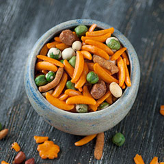 Spicy Hot Trail Mix A tasty hot mix of Chili Crescents, Butter Toffee Peanuts, Wasabi Peas, Jalapeno Cheddar Sesame Sticks, Dried Green Peas, Blanched Peanuts, and Spanish Peanuts. This spicy hot trail mix will send your tastebuds soaring!<br /> 8 oz Bag  $6.99