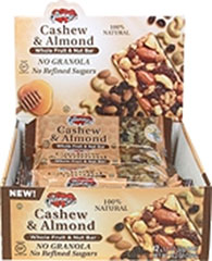 Cashew & Almond Whole Fruit & Nut Bar <p><b>From the Manufacturer:</p></b> <p>Glenny's Cashew & Almond Bars are made with luscious fruit pieces and satisfyingly crunchy nuts, then combined with the natural sweetness of honey and brown rice syrup. </p>  <p>These bars contain an energizing boost of 190 calories packed with protein and wholesome carbs. Comes 12 to a box; perfect for lunch or after school treats. </p>  <u><p&gt