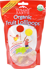 Organic Fruit Lollipops <p><strong>From the Manufacturer's Label:</strong></p><p>Yummy Earth Organic Fruit Lollipops are made with real fruit extracts and come in four assorted flavors: Mango Tango, Pomegranate Pucker, Tooberry Blueberry, Wet-Face Watermelon. Fifteen lollipops in one bag.<br /></p> 3 oz Bag  $5.99