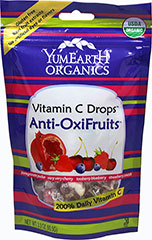 Organic Vitamin C Anti Ox Drops Yummy Earth Organic Vitamin C Candy Drops Anti Oxi Fruits are organic and all natural candies that taste delicious and full of Vitamin C.  Fruit Flavors Include: Too Berry Blueberry, Pomegranate Pucker, Strawberry Smash, Very Very Cherry.  <p>•Certified Organic</p> <p>•Gluten Free</p> <p>•No Artificial Dyes</p> <p>•100% Natural Flavors</p> <p>•Real Fruit Extracts</p> 3.3 oz Bag  $4.99