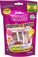 Organic Vitamin C Lollipop Yummy Earth Organic Vitamin C Pops deliver 100% of your child's daily vitamin C requirements from organic acerola berries. Organic Vitamin C Pops come in three yummy flavors: Strawberry Smash, Tooberry Blueberry and Razzmatazz Berry. </p> <p>• Certified Organic</p> <p>• Gluten Free</p> <p>• No Artificial Dyes</p> <p>• 100% Natural Flavors</p> <p>• Real Fruit Extracts</p> 3 oz Bag  $4.99
