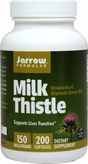 Milk Thistle Standardized 150 mg <p><strong>From the Manufacturer's Label:</strong></p><p>Jarrow Formulas Milk Thistle (Silybum marianum) 30:1 concentrate is standardized to contain 80% total Milk Thistle seed flavonoids, including the important Silymarin fractions isosilybinins A and B, silybinins A and B, silychristin and silydianin. </p> 200 Capsules 150 mg $14.99