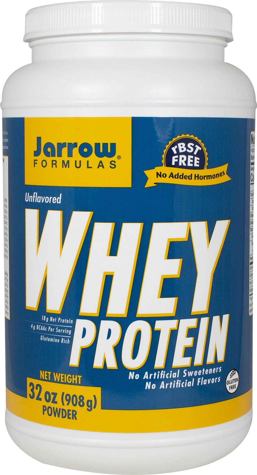 Whey Protein Jarrow Formulas Whey Protein is a 100% natural protein concentrate of whey, from cows not treated with growth hormone (rBST), and is ultrafiltered to be low in fat, lactose and carbohydrates.   2 lbs Powder  $25.99
