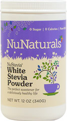 Nustevia™ White Stevia™ Non Bitter Powder <p><strong>From the Manufacturer's Label</strong></p><ul><li>Non Bitter</li><li>Zero Calories</li></ul><p>Manufactured by NuNaturals.</p> 12 oz Powder  $14.99