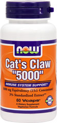 "Cat's Claw 5000 334 mg 15:1 Concentrate <p><strong>From the Manufacturer's Label:</strong></p><p>NOW® Cat's Claw ""5000"" contains the highest quality inner bark of authentic Uncaria tomentosa, an exciting herbal discovery from the Peruvian Rainforest. Also called Uña de Gato, it has been used for hundreds of years by the native Ashanica Indians.</p><p>Manufacturered by NOW® Foods.</p> 60 Capsules 334 mg $5.99"