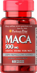 Maca 500 mg <p>For your passionate nature. Designed for Men and Women. Maca, a Peruvian herb that grows high in the Andes, has been used for centuries. Perfect for men and women alike, Maca appeals to the exotic nature in you.<br /></p> 60 Capsules 500 mg $6.99