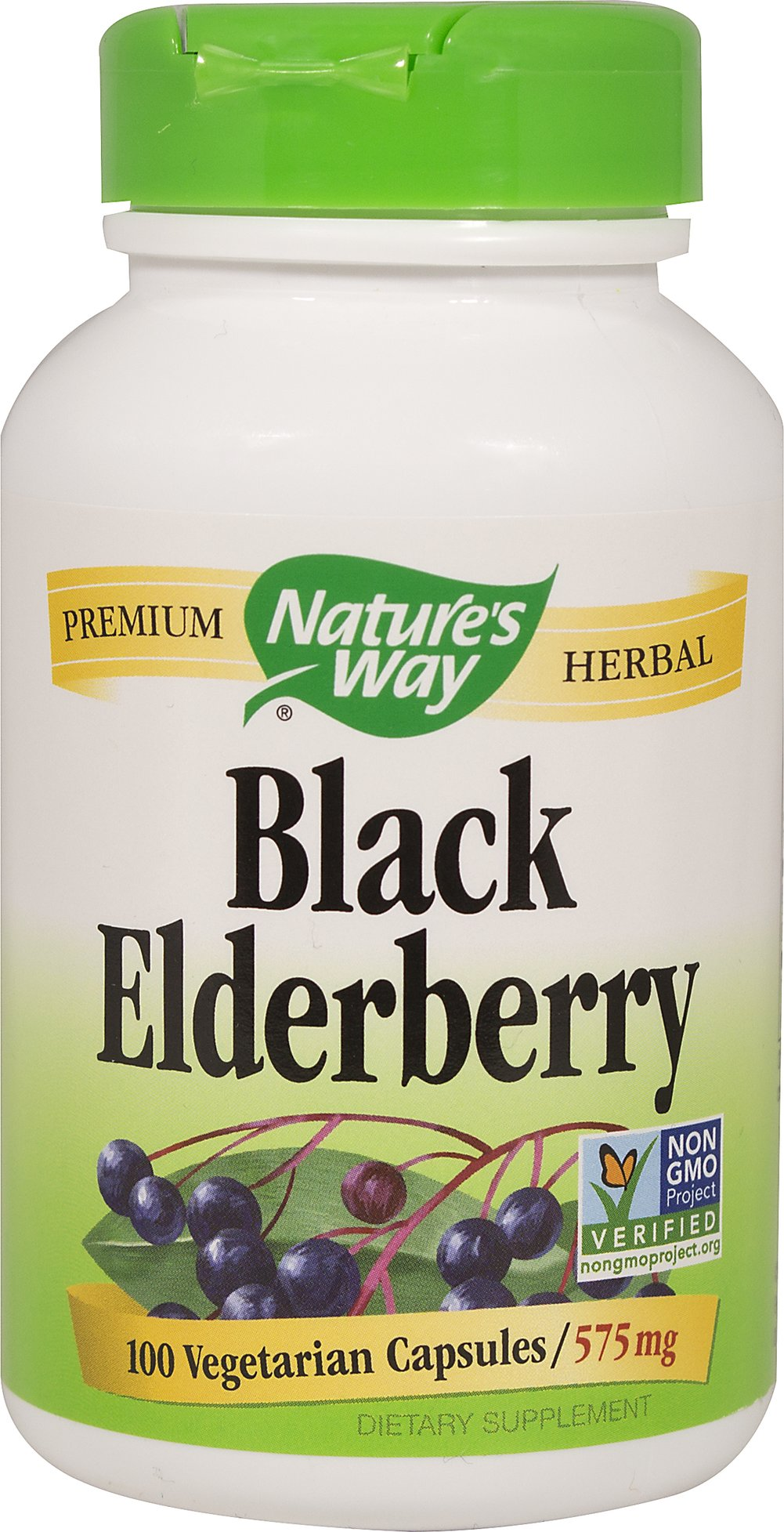 Elderberry 575 mg <p><strong>From the Manufacturer's Label:</strong></p><p>Popular in Winter<br /><br />Elderberry (Sambucus nigra) was used by Native Americans.  The berries and flowers are rich in flavonoids. <br /><br />Manufactured by Nature's Way</p> 100 Capsules 575 mg $7.19