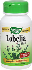 Lobelia Herb 425 mg <p><strong>From the Manufacturer's Label:</strong></p><p>Lobelia 425 mg manufactured by Nature's Way.</p> 100 Capsules 425 mg $5.99