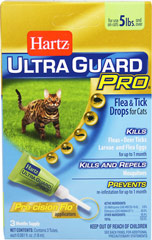 Ultra Guard Pro Flea & Tick Drops for Cats <p><strong></strong><strong>From the Manufacturer:</strong></p><p>The Pro-cision Flo® applicator (patent pending) easily penetrates the fur for improved application directly to your cat's skin. Hartz® UltraGuard Pro® Flea & Tick Drops for Cats is a monthly treatment that kills fleas, deer ticks and mosquitoes plus kills flea eggs and larvae to prevent future infestations for up to