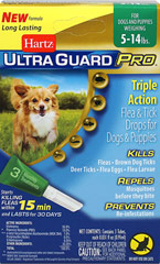 Ultra Guard Pro Flea & Tick Drops for Dogs 5-14lbs <p><strong></strong><strong>From the Manufacturer:</strong></p><p>Hartz® UltraGuard Pro® Flea & Tick Drops  The new Pro-Glide™ applicator (patent pending) easily penetrates the fur and is angled for improved application direct to your dog's skin.</p><p>This is a monthly treatment that kills and repels fleas and ticks on contact for up to 30 days, kills mosquitoes and kil