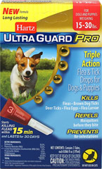 Ultra Guard Pro Flea & Tick Drops for Dogs 15-30 lbs <p><strong>From the Manufacturer:</strong></p><p>Hartz® UltraGuard Pro® Flea & Tick Drops  The new Pro-Glide™ applicator (patent pending) easily penetrates the fur and is angled for improved application direct to your dog's skin.</p><p>This is a monthly treatment that kills and repels fleas and ticks on contact for up to 30 days, kills mosquitoes and kills and prevents flea eggs a