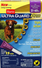 Ultra Guard Pro Flea & Tick Drops for Dogs 31-60lbs <p><strong></strong><strong>From the Manufacturer:</strong></p><p>Hartz® UltraGuard Pro® Flea & Tick Drops  The new Pro-Glide™ applicator (patent pending) easily penetrates the fur and is angled for improved application direct to your dog's skin.</p><p>This is a monthly treatment that kills and repels fleas and ticks on contact for up to 30 days, kills mosquitoes and ki