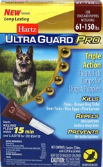Ultra Guard Pro Drops For Dogs Over 60 lbs <p><strong></strong><strong>From the Manufacturer:</strong></p><p>Hartz® UltraGuard Pro® Flea & Tick Drops  The new Pro-Glide™ applicator (patent pending) easily penetrates the fur and is angled for improved application direct to your dog's skin.</p><p>This is a monthly treatment that kills and repels fleas and ticks on contact for up to 30 days, kills mosquitoes and kills and preve