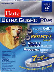 Ultra Guard Plus Flea & Tick Collar for Dogs <p><strong></strong><strong>From the Manufacturer:</strong></p><p>Hartz® UltraGuard Plus™ Flea & Tick Collar for Dogs kills and repels both fleas and ticks for 7 months plus it kills and prevents flea eggs for up to 7 months, thereby stopping the flea life cycle and preventing reinfestation.  Water resistant.   For use on puppies 6 weeks of age and older.</p> 1 Each  $13.99
