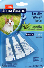 Earmite for Cats <b><p>From the Manufacturer:</b></p><p>Hartz® UltraGuard™ Ear Mite Treatment for Cats kills ear mites on contact. Formula contains aloe to help soothe irritated skin in treated area. READ ENTIRE LABEL BEFORE EACH USE.</p> <p>USE ONLY ON CATS.</p> 3 per Box  $5.39